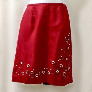 Ann Taylor 100% Linen Red Embellished Skirt